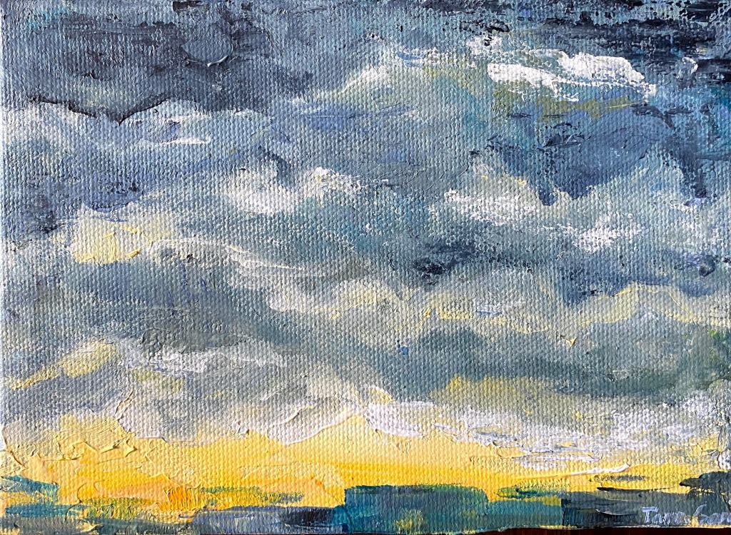 Acrylic painting of a cityscape at the approach of a storm.